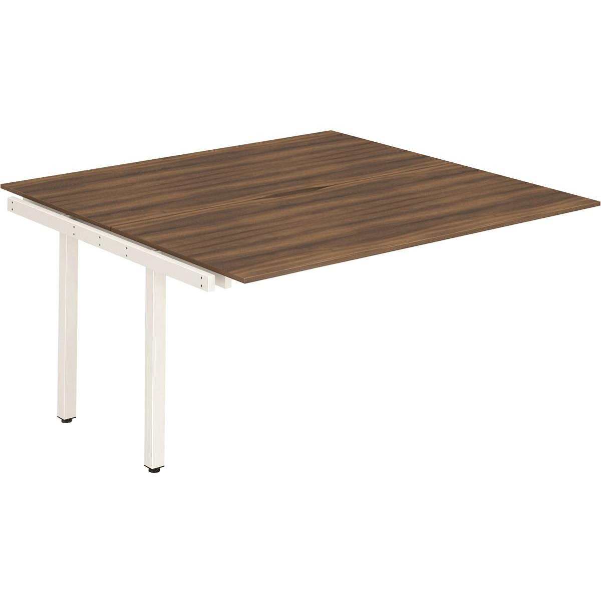Trexus Bench Desk Double Extension Back to Back Configuration White Leg 1400x1600mm Walnut Ref BE194