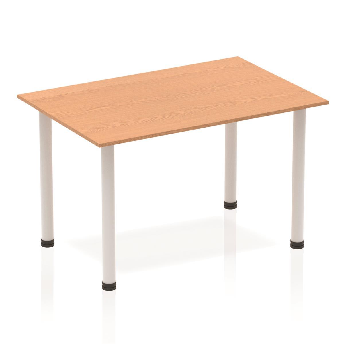 Sonix Rectangular Silver Post Leg Table 1200x800mm Oak Ref BF00178