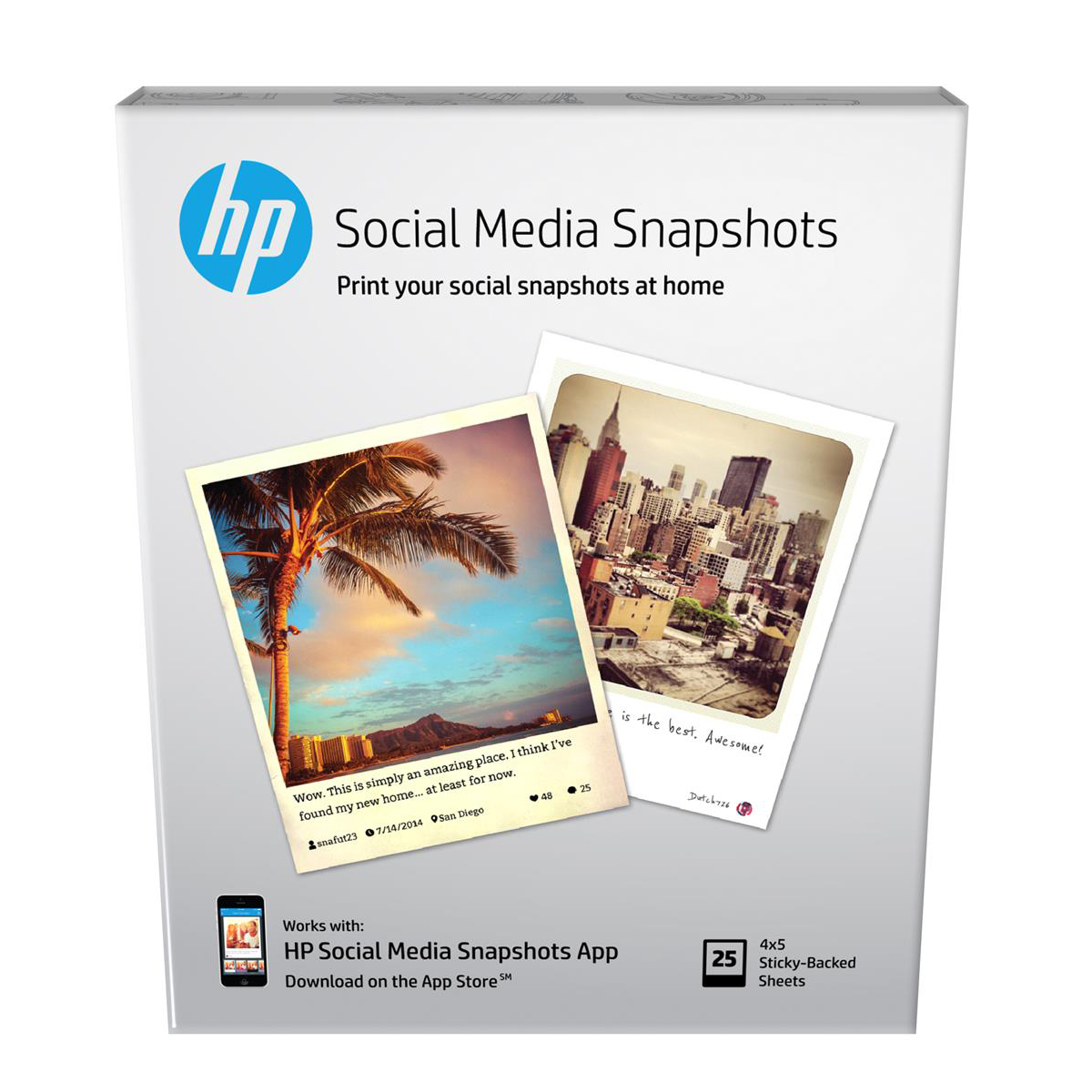 HP Social Media Snapshots Removable Sticky Photo Paper 10x13cm W2G60A 25sheets *3to5 Day Leadtime*