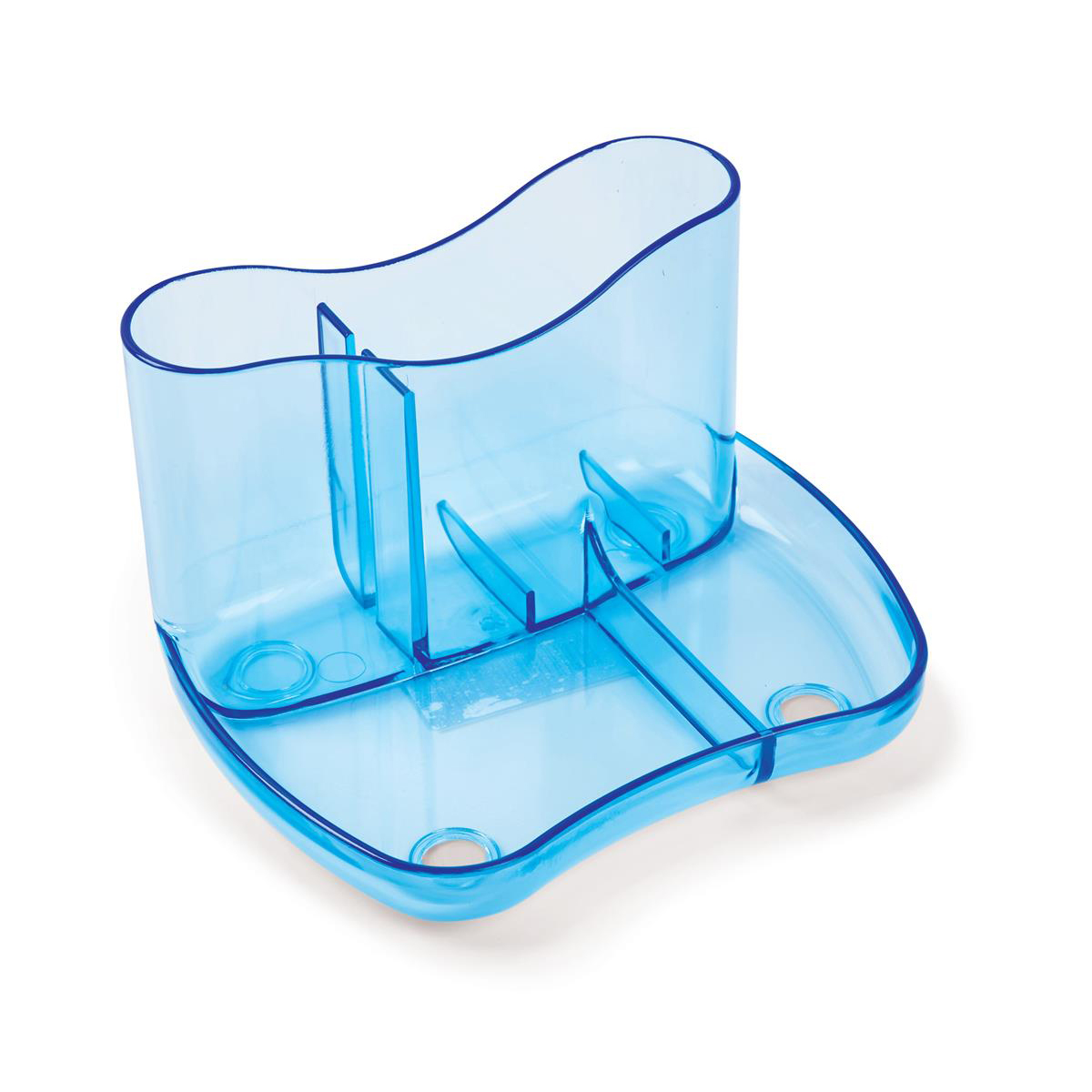 Glass Clear Desk Organiser 4 Compartments 93mm High Glass Clear Blue