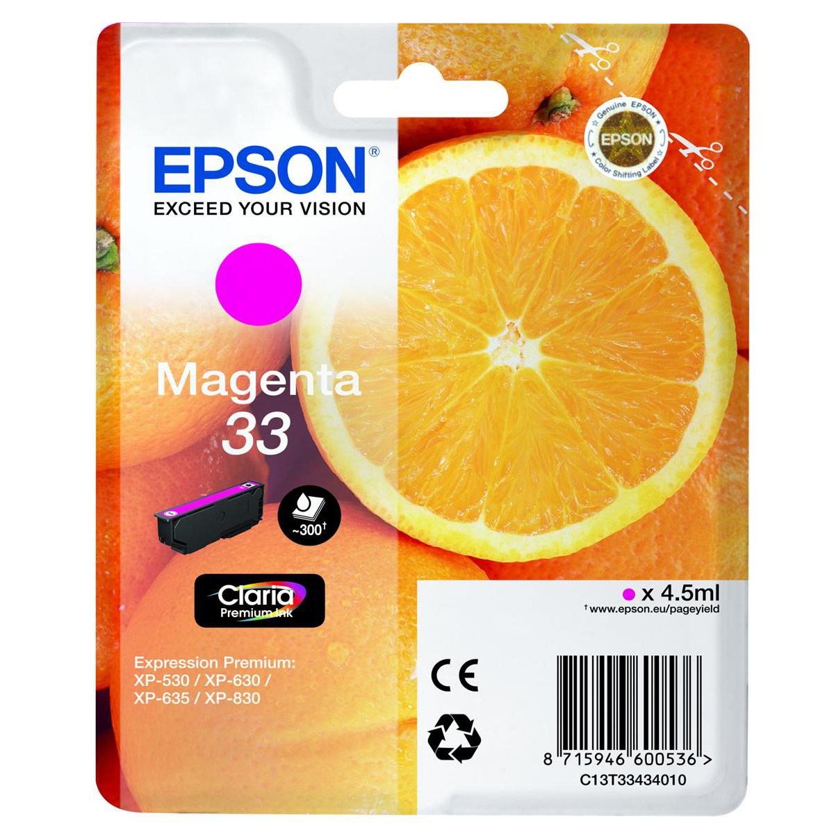Epson T33 Inkjet Cartridge Orange Page Life 300pp 4.5ml Magenta Ref C13T33434012