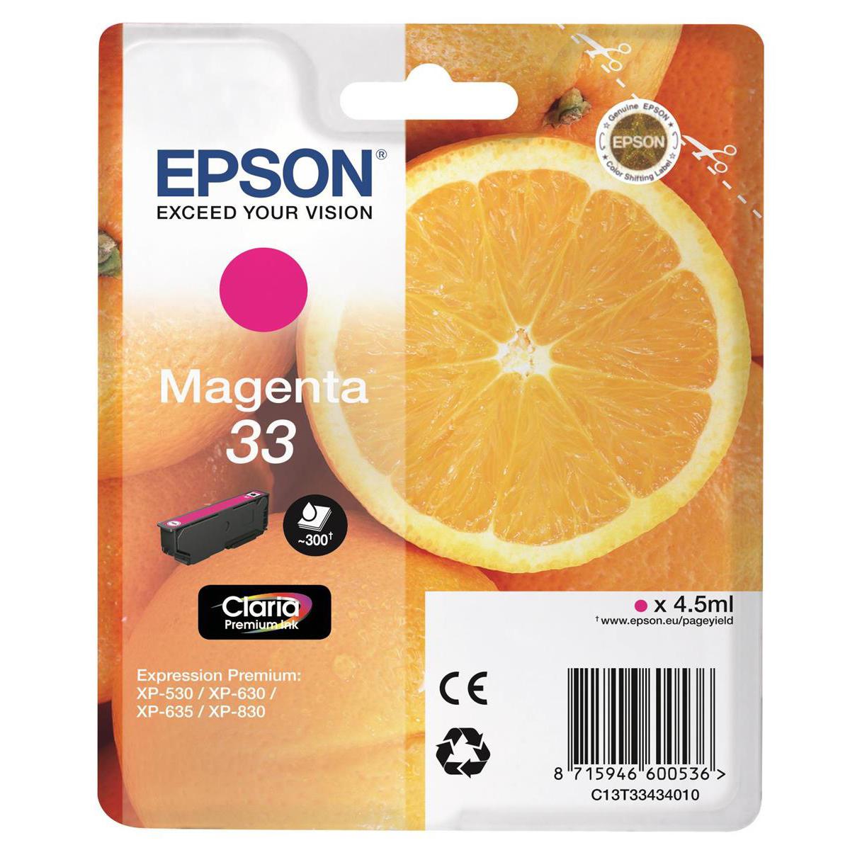 Epson T33 Inkjet Cartridge Orange Page Life 300pp 4.5ml Magenta Ref C13T33434012