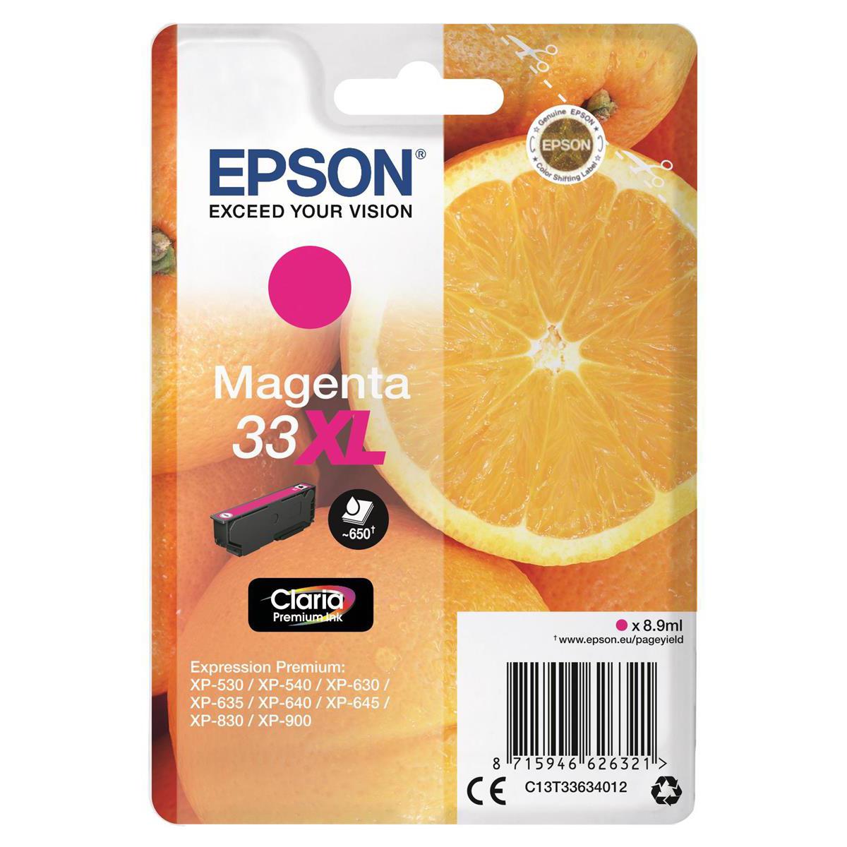 Inkjet Cartridges Epson T33XL Inkjet Cartridge Orange High Yield Page Life 650pp 8.9ml Magenta Ref C13T33634012