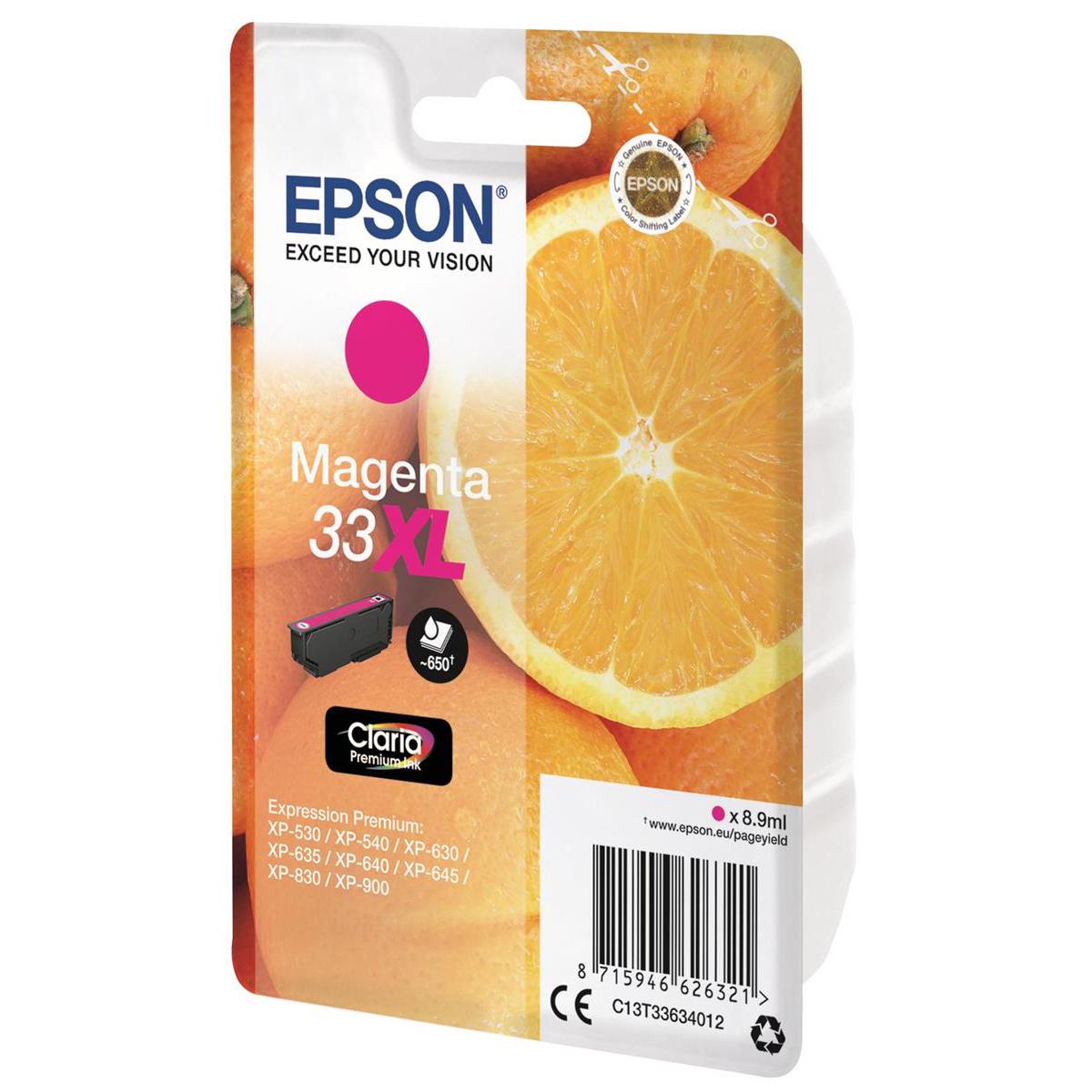 Epson T33XL Inkjet Cartridge Orange High Yield Page Life 650pp 8.9ml Magenta Ref C13T33634012