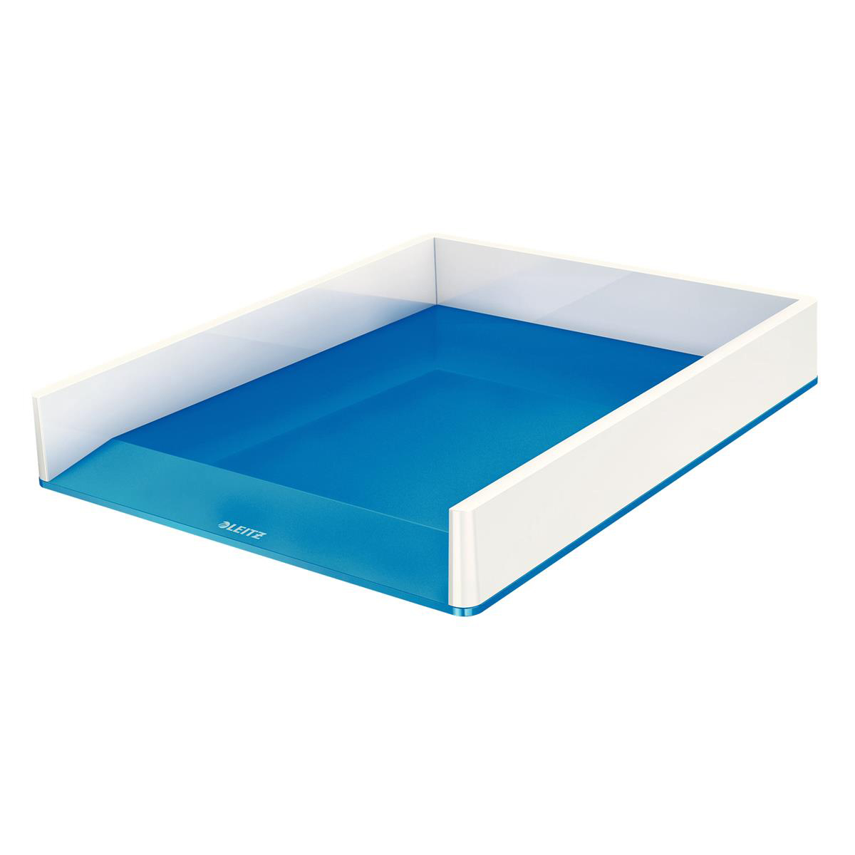 Leitz WOW Letter Tray Duo Large Opening Vertical Stacking A4/C4/Folio/Letter White/Blue Ref 53611036