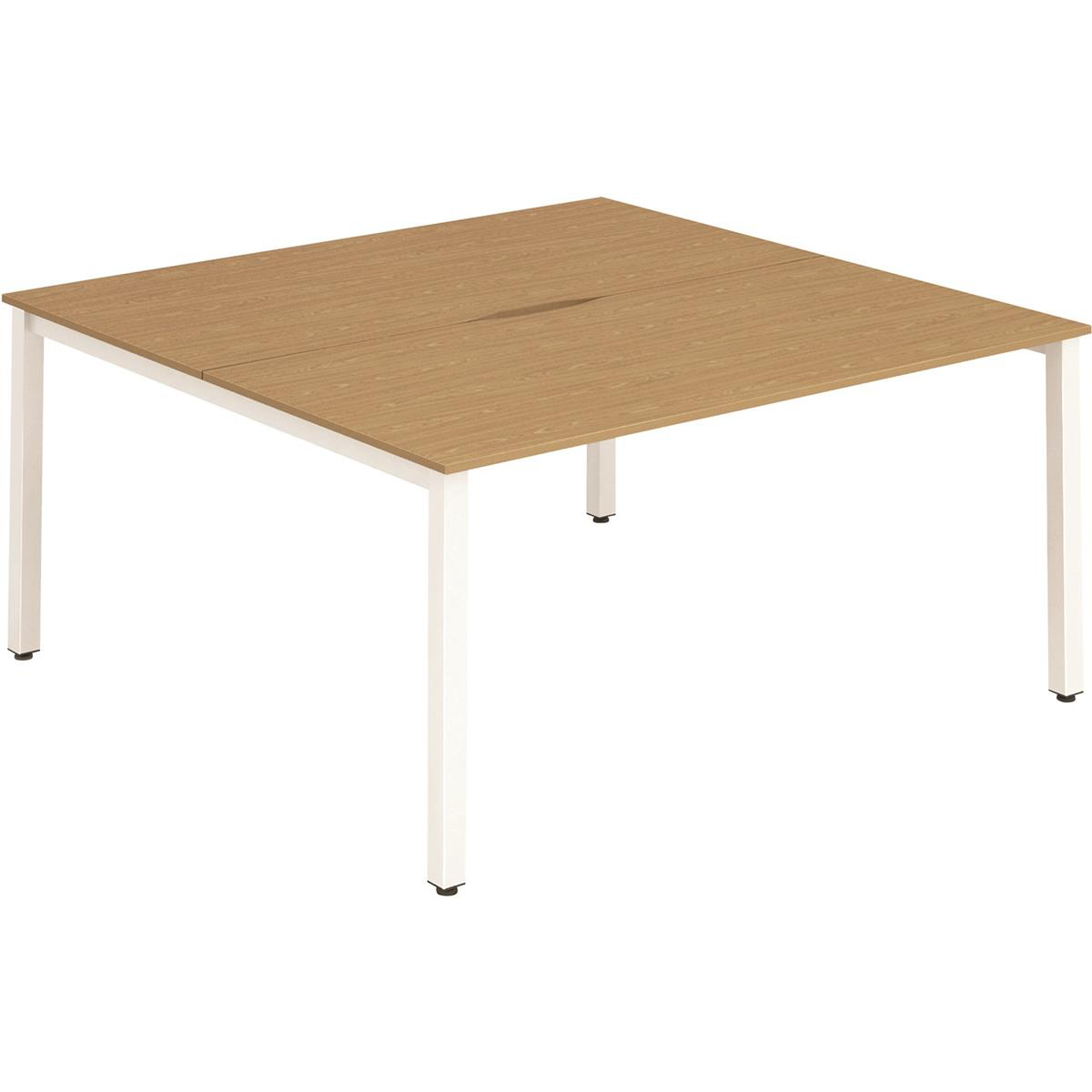Trexus Bench Desk 2 Person Back to Back Configuration White Leg 1400x1600mm Oak Ref BE153