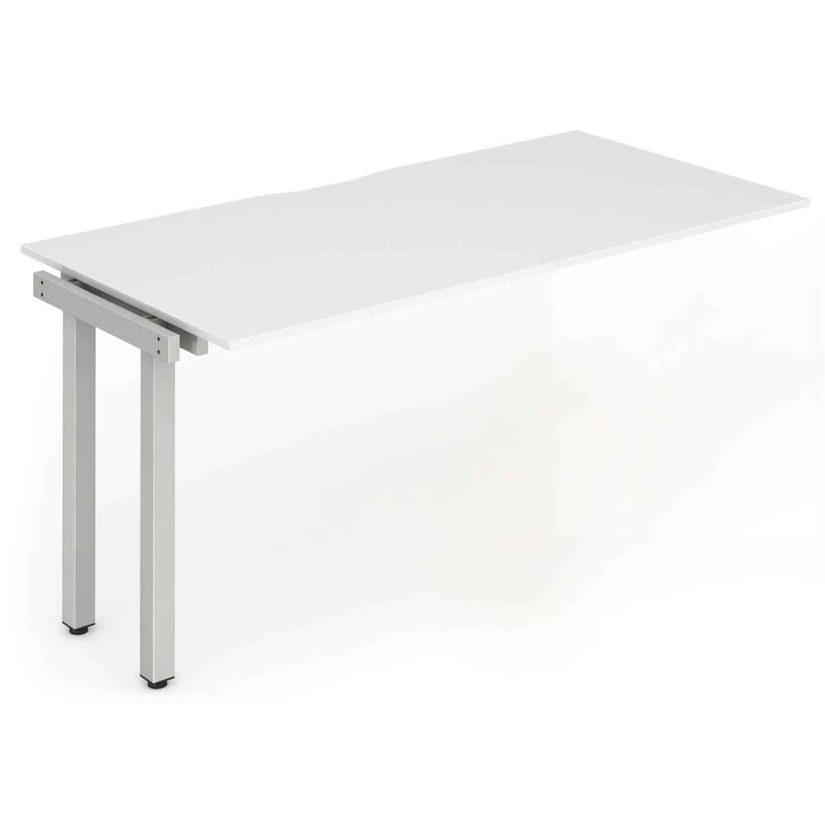 Trexus Bench Desk Single Extension Silver Leg 1200x800mm White Ref BE340