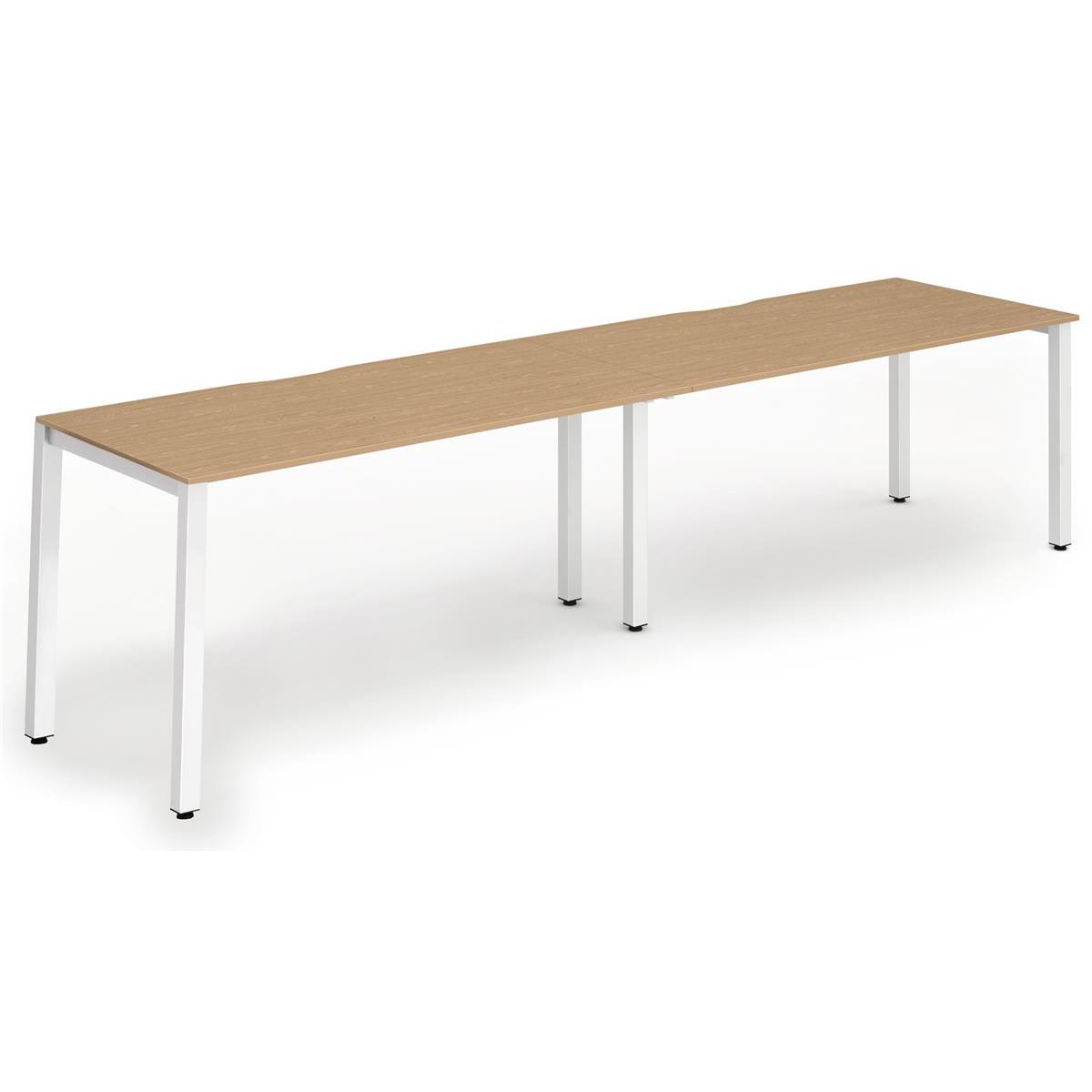 Trexus Bench Desk 2 Person Side to Side Configuration White Leg 2400x800mm Oak Ref BE358