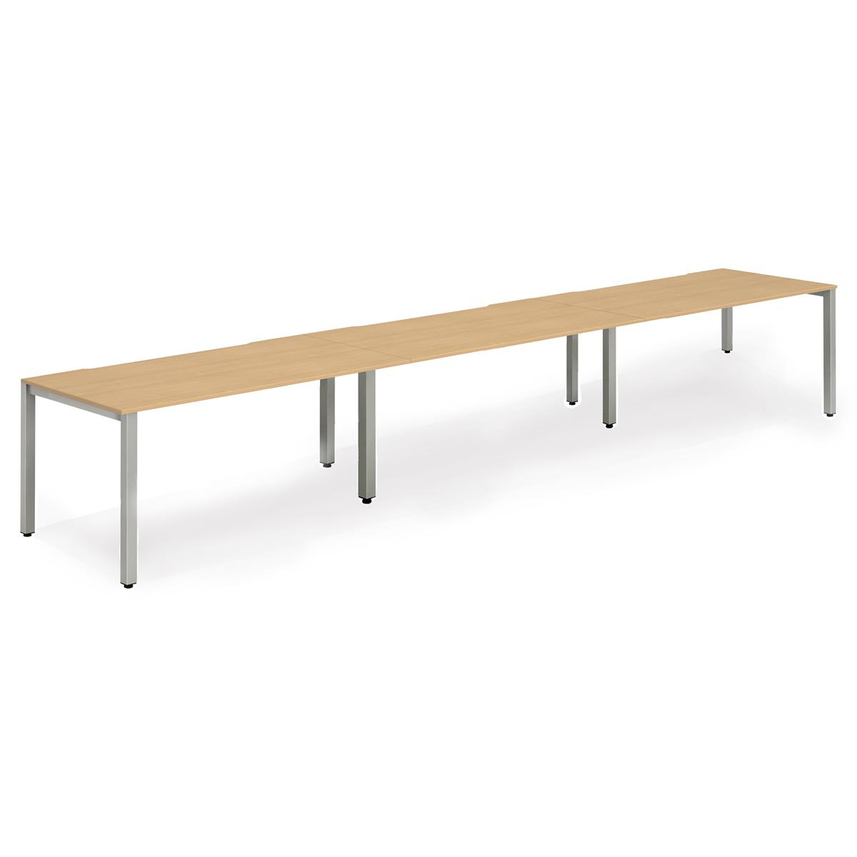 Trexus Bench Desk 3 Person Side to Side Configuration Silver Leg 4200x800mm Beech Ref BE417