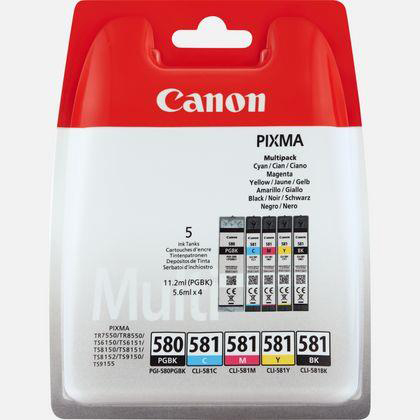 Ink cartridges Canon PGI-580/CLI-581 Inkjet Cart C/M/Y 11.2ml/Black 5.6ml Ref 2078C005 Pack 5