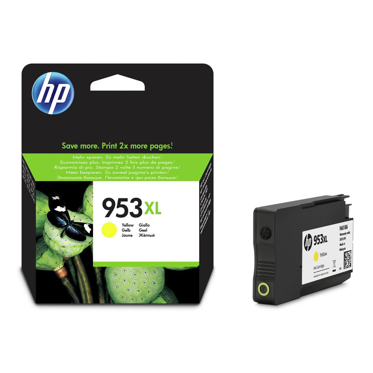 Hewlett Packard [HP] No.953XL Original Ink Cartridge High Yield 1600pages Yellow Ref F6U18AE