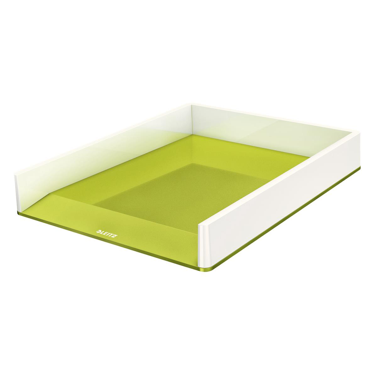 Leitz WOW Letter Tray Duo Large Opening Vertical Stacking A4/C4/Folio/Letter White/Green Ref 53611064