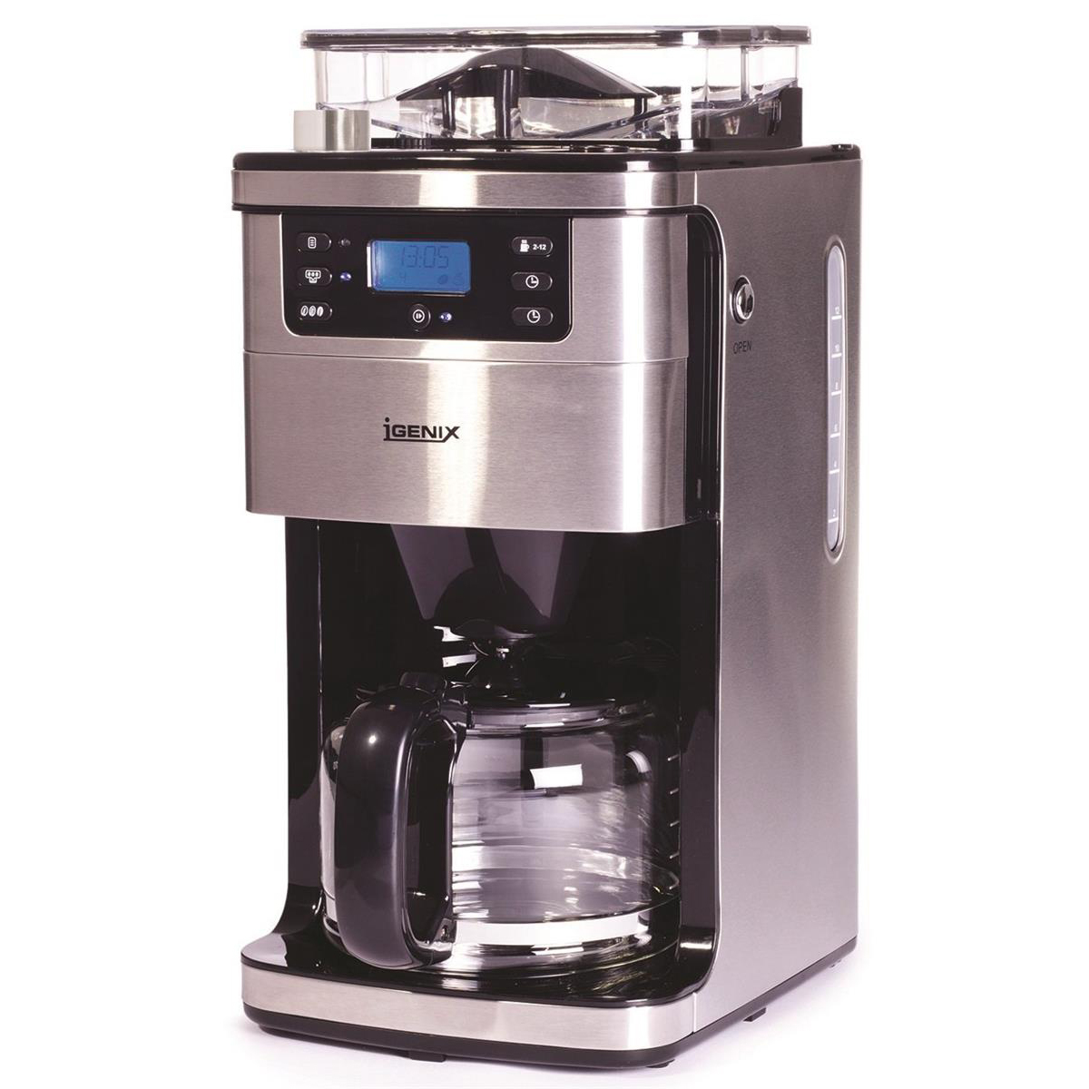 Igenix Digital Coffee Maker LCD Display Keep Warm 1.5L 12 Cup Capacity Ref IG 8225