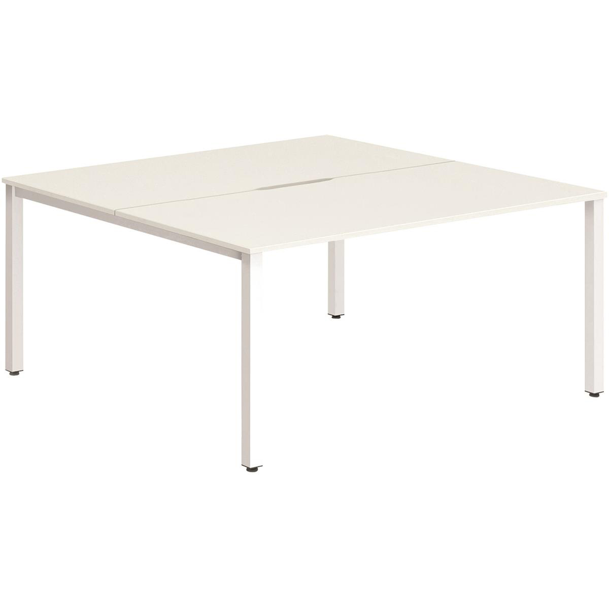 Trexus Bench Desk 2 Person Lockable Sliding Top 1400mm White with White Frame