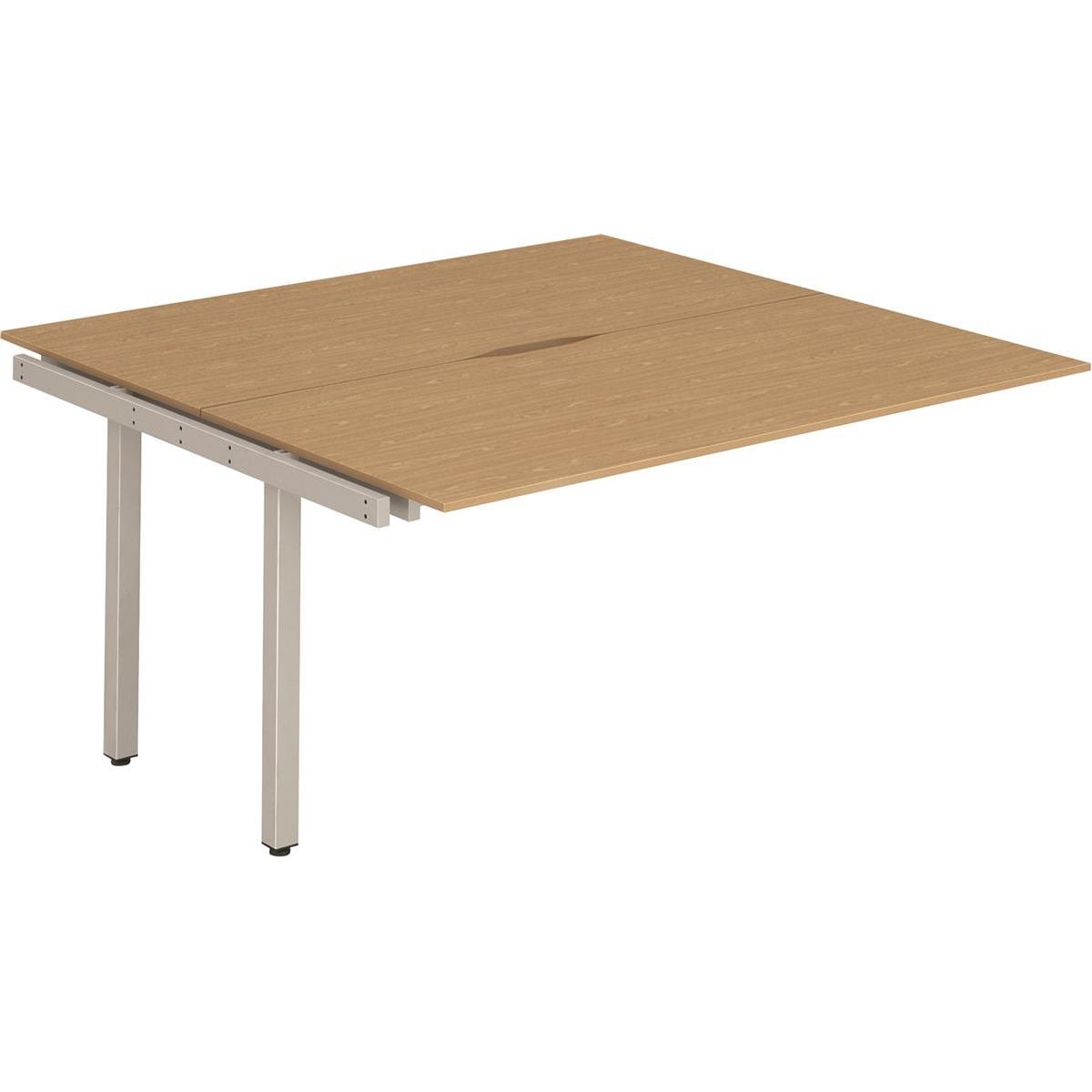 Trexus Bench Desk Double Extension Back to Back Configuration Silver Leg 1600x1600mm Oak Ref BE207