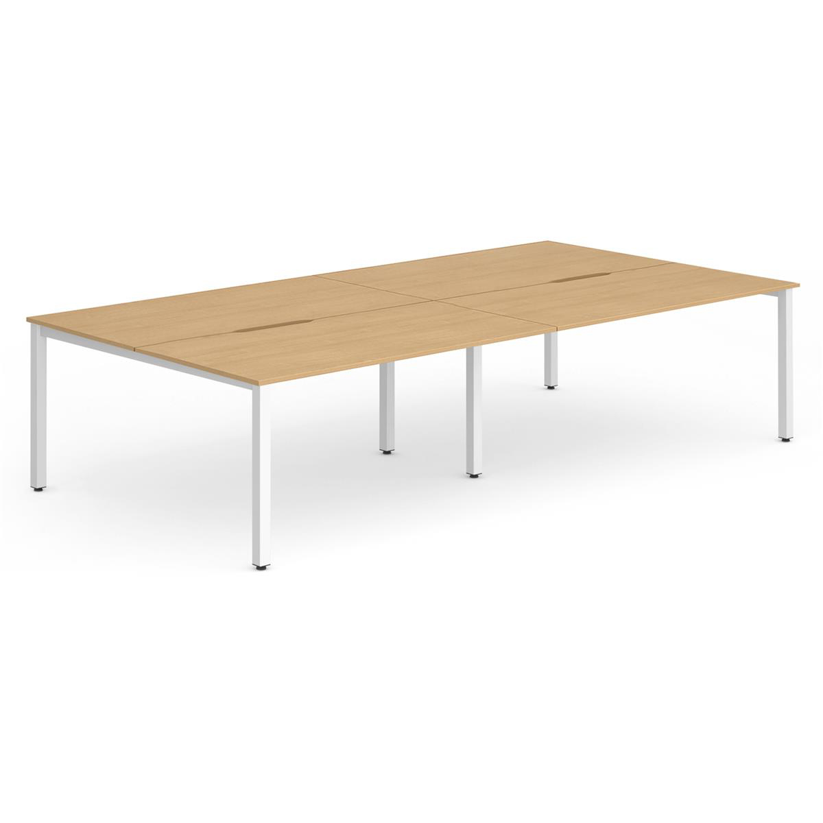 Trexus Bench Desk 4 Person Back to Back Configuration White Leg 3200x1600mm Beech Ref BE232