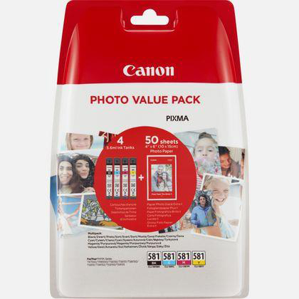 Canon CLI-581 Inkjet Cartidges 259pp x 3 Plus Photo Paper 750pp Value Pack  B/C/M/Y Ref 2106C005 [Pack 4]