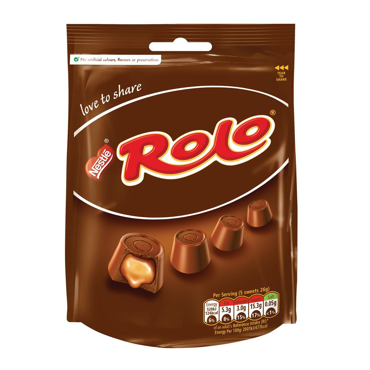 Rolo Pouch Sharing Bags 116g Milk Chocolate Shell with Caramel Filling Ref 12350887