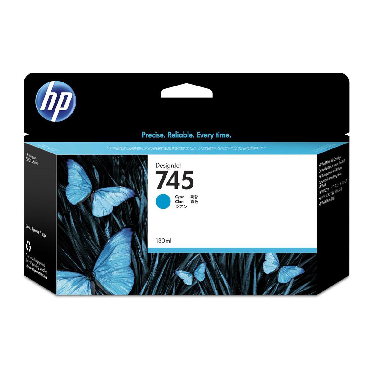 Hewlett Packard [HP] No.745 DesignJet Ink Cartridge Cyan 130ml Ref F9J97A *3to5 Day Leadtime*