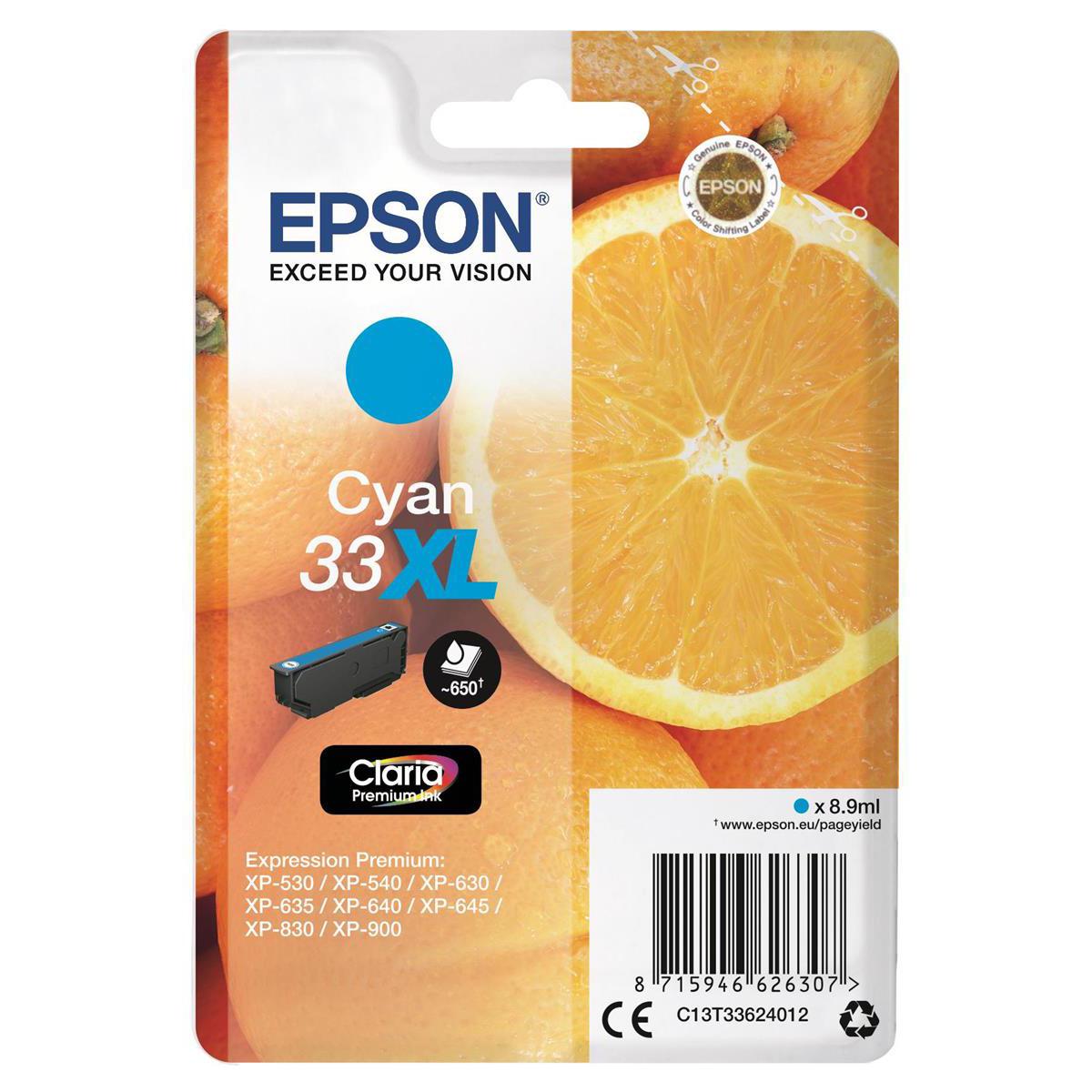 Ink cartridges Epson T33XL Inkjet Cartridge Orange High Yield Page Life 650pp 8.9ml Cyan Ref C13T33624012