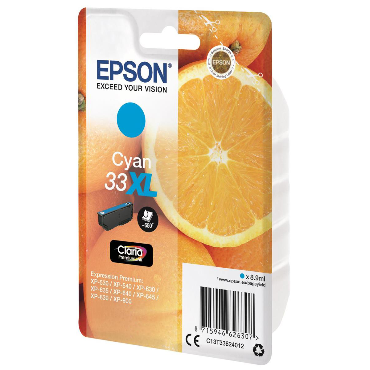 Epson T33XL Inkjet Cartridge Orange High Yield Page Life 650pp 8.9ml Cyan Ref C13T33624012