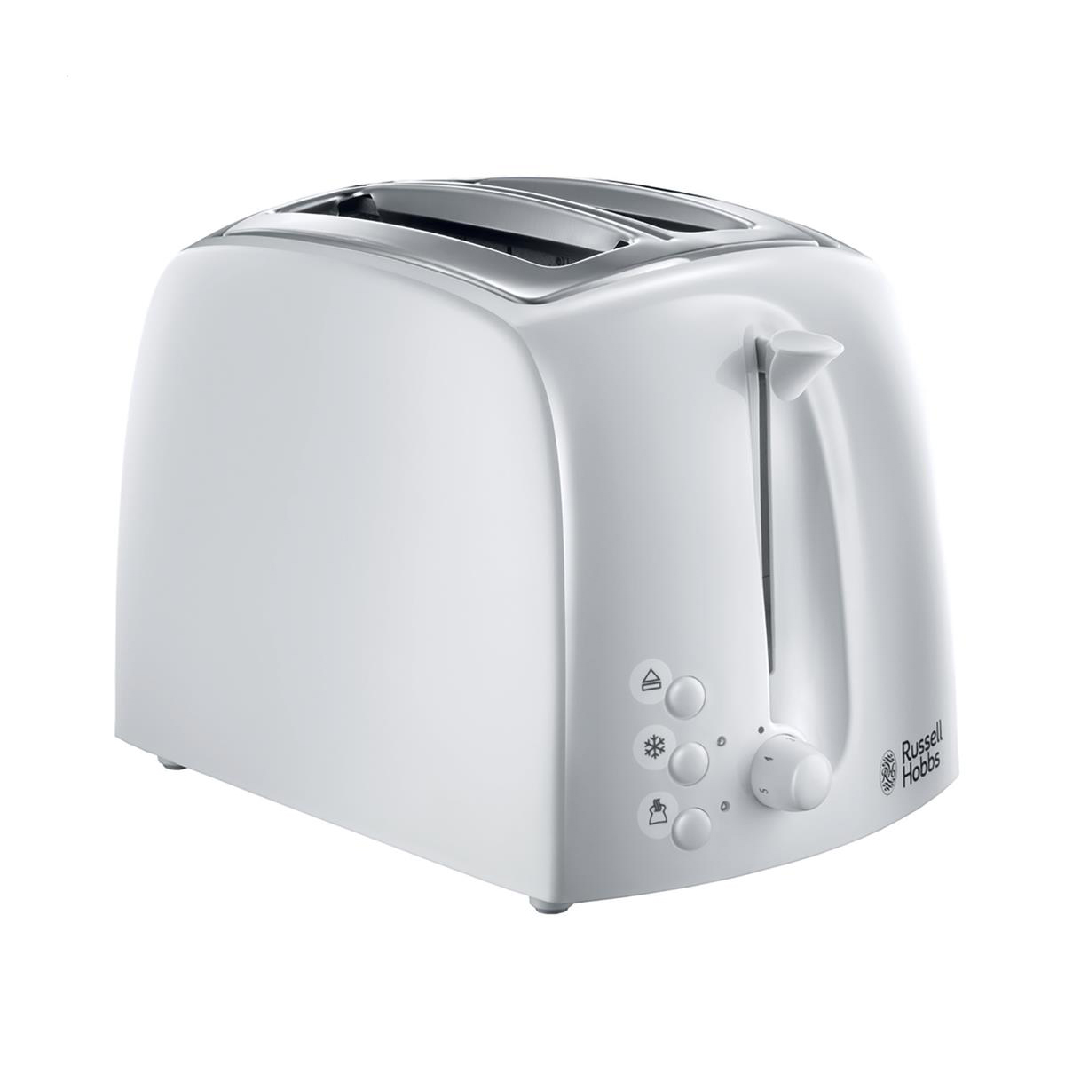 Russell Hobbs Textures Toaster Reheat Defrost Crumb Tray Auto-off White Ref RH2164