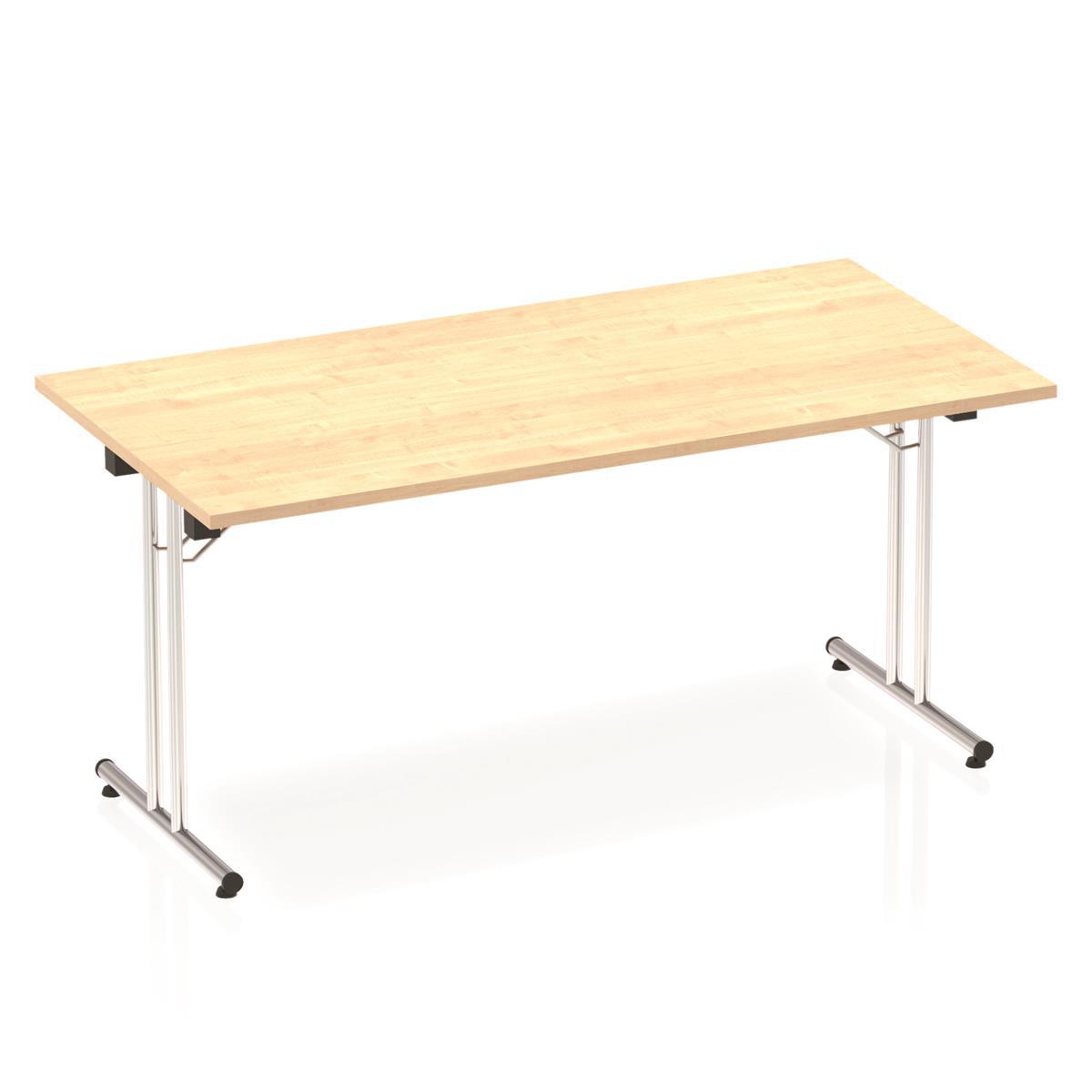 Sonix Rectangular Chrome Leg Folding Meeting Table 1600x800mm Maple Ref I000718
