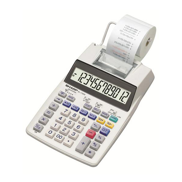 Software Sharp Desktop Printing Calculator 12 Digit Display 2 Colour Printing 150x52x230mm Grey Ref SH-EL1750V