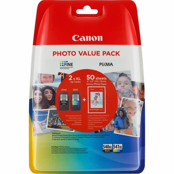 Ink cartridges Canon 540XL/541XL Inkjet Cartridge 600pp Black/CMY 50 Sheets 4x6 Photo Paper Ref 5222B013 Pack 2