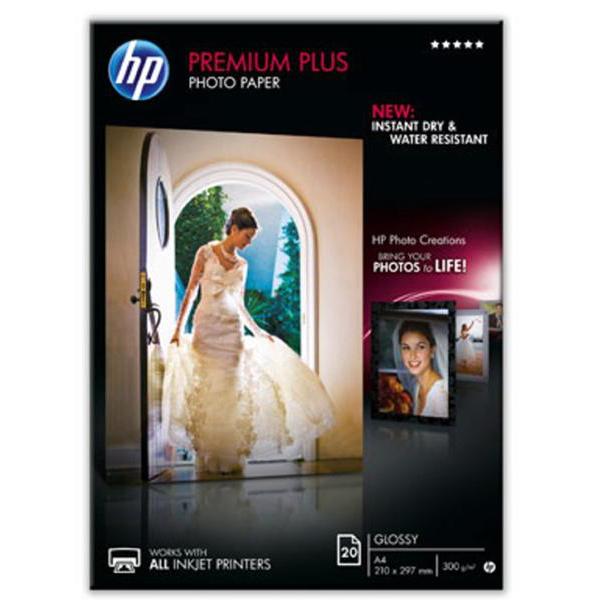 Hewlett Packard HP Premium Plus Photo Paper Glossy 300gsm A4 Ref CR672A 20 Sheets