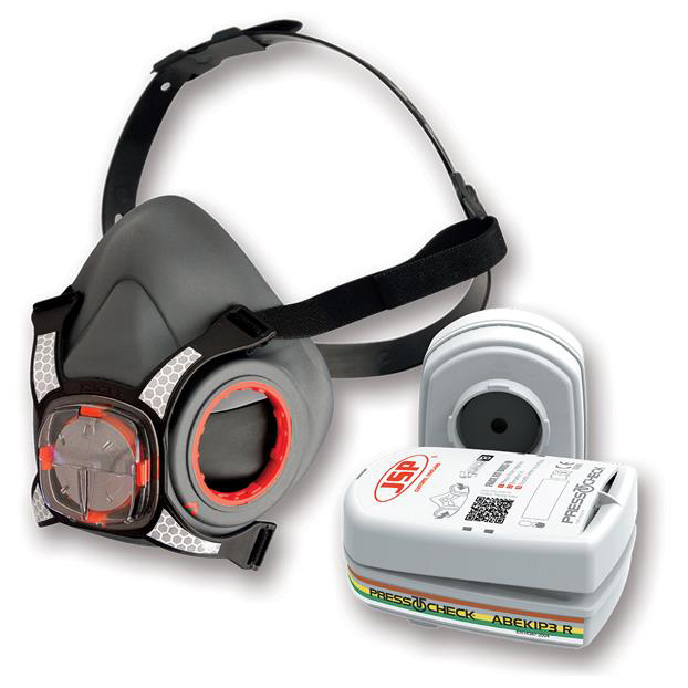 JSP Force8 Half Mask Complete With PressToCheck ABEK1 P3 Twin Filter Cartridges Ref BHT0C3-0L5-N00