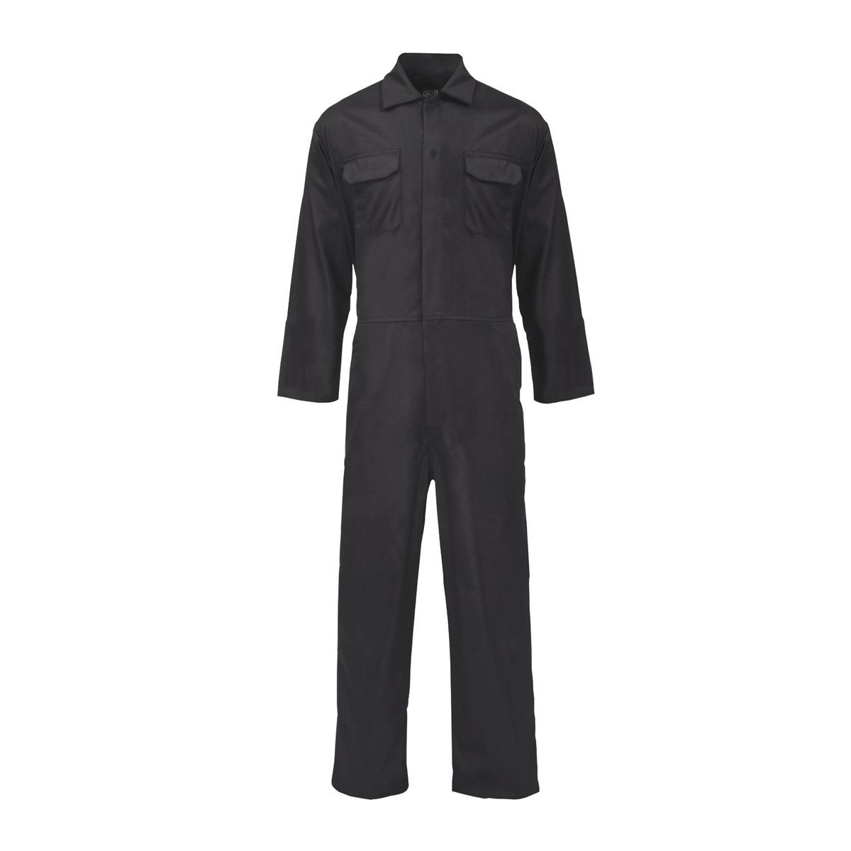 ST Coverall Basic with Popper Front Opening PolyCotton XXXXLarge Black Ref 51707 *Approx 3 Day Leadtime*