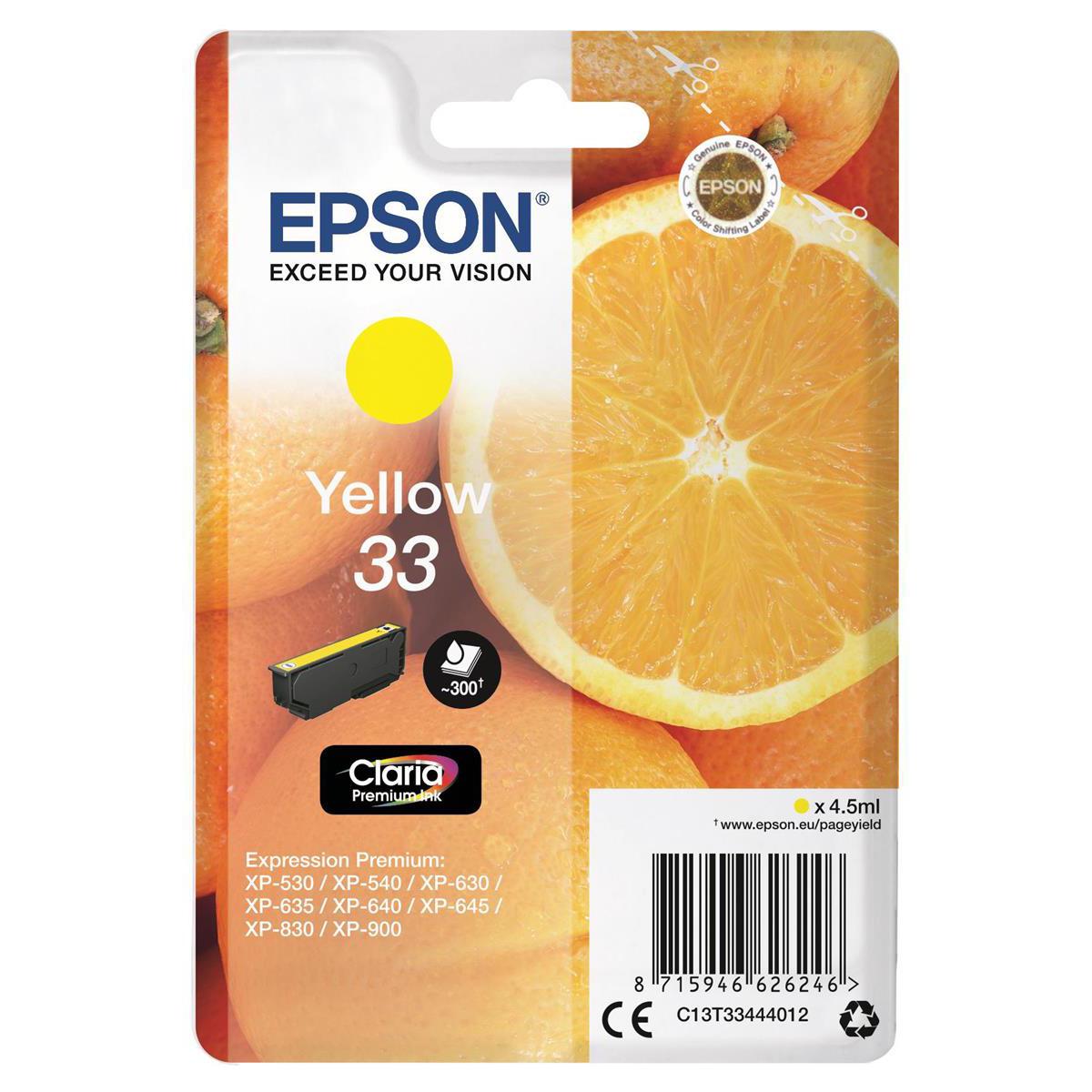 Epson T33 Inkjet Cartridge Orange Page Life 300pp 4.5ml Yellow Ref C13T33444012
