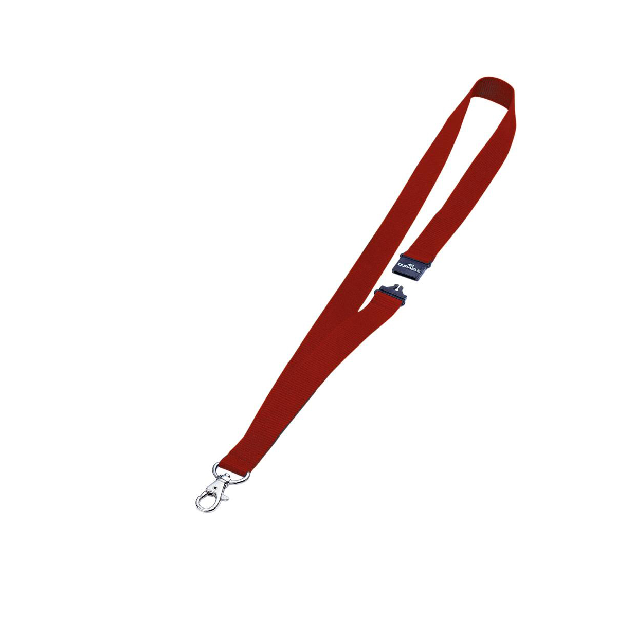 Durable Textile Name Badge Lanyards 20x440mm with Safety Closure Red Ref 813703 [Pack 10]
