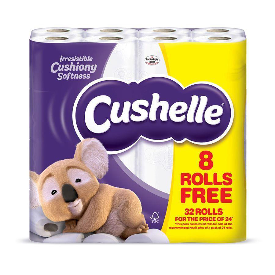 Cushelle Toilet Rolls 2-ply 180 Sheets White Ref 1102090 Pack 24 Plus 8 FREE