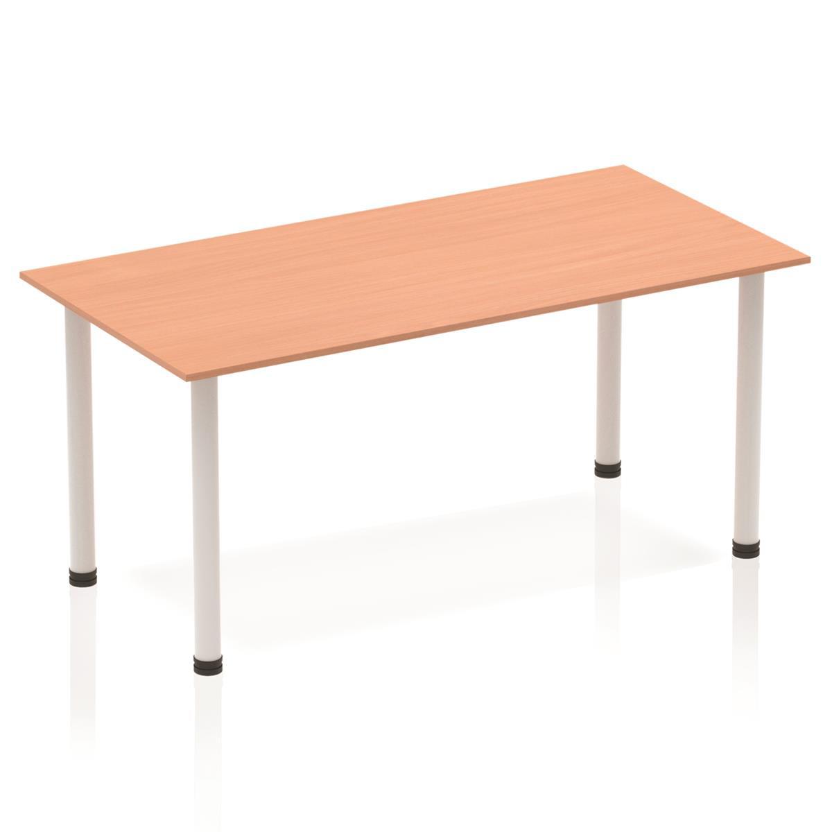 Sonix Rectangular Silver Post Leg Table 1600x800mm Beech Ref BF00168