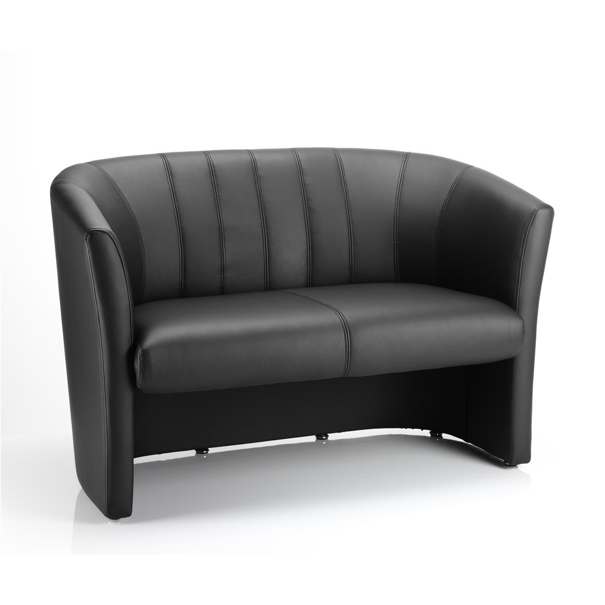 #Trexus Tub 2 Seater Sofa Black Leather 970x510x460mm Ref BR000105