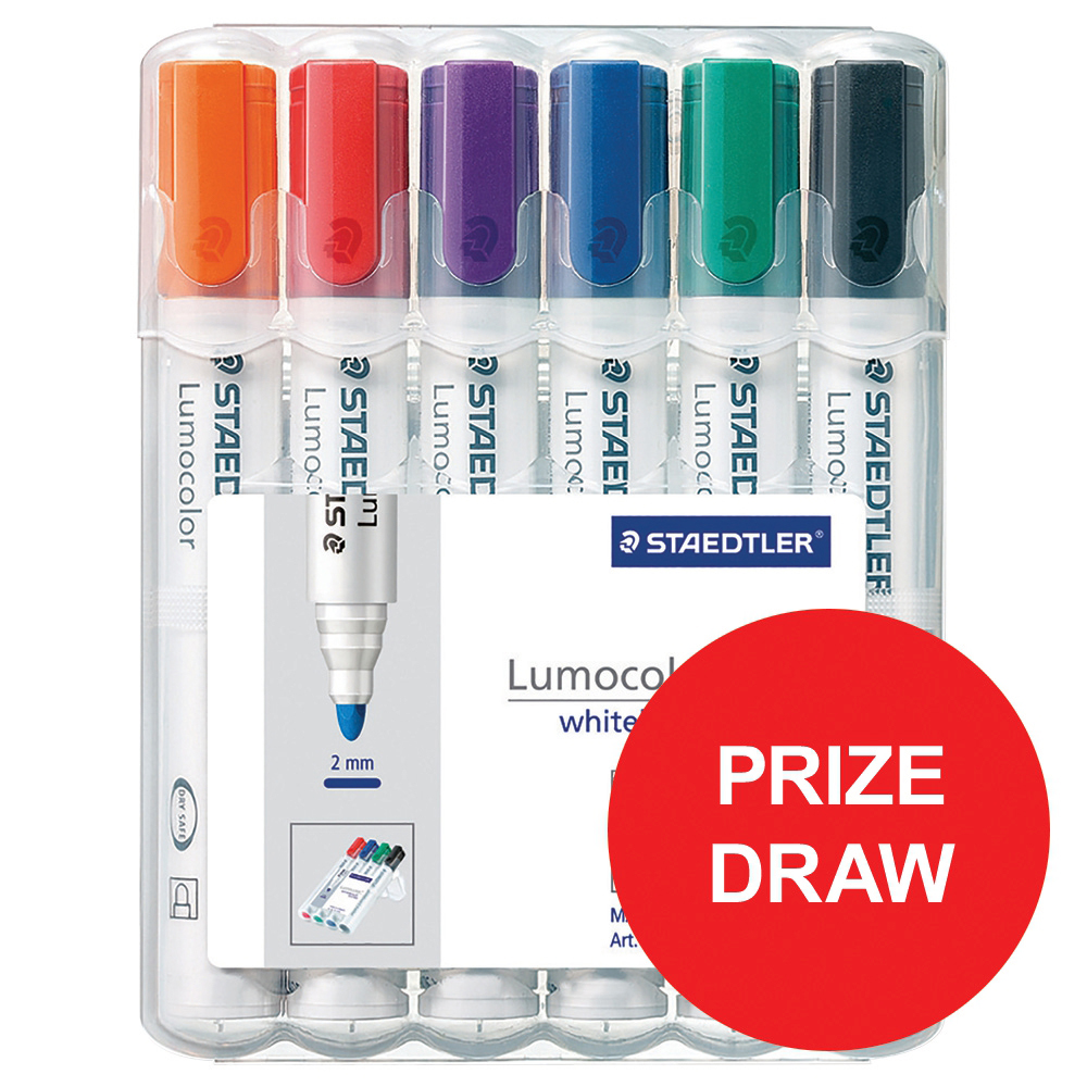 Drywipe Markers Staedtler 351 Marker Dry-wipe Whiteboard Locked Tip 2mm Line Wallet Assorted Ref 351 WP6 [Pack 6]