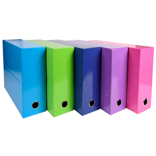 Iderama Transfer File 90mm Spine Thumb Hole A4 Assorted Bright Colours Pack 5