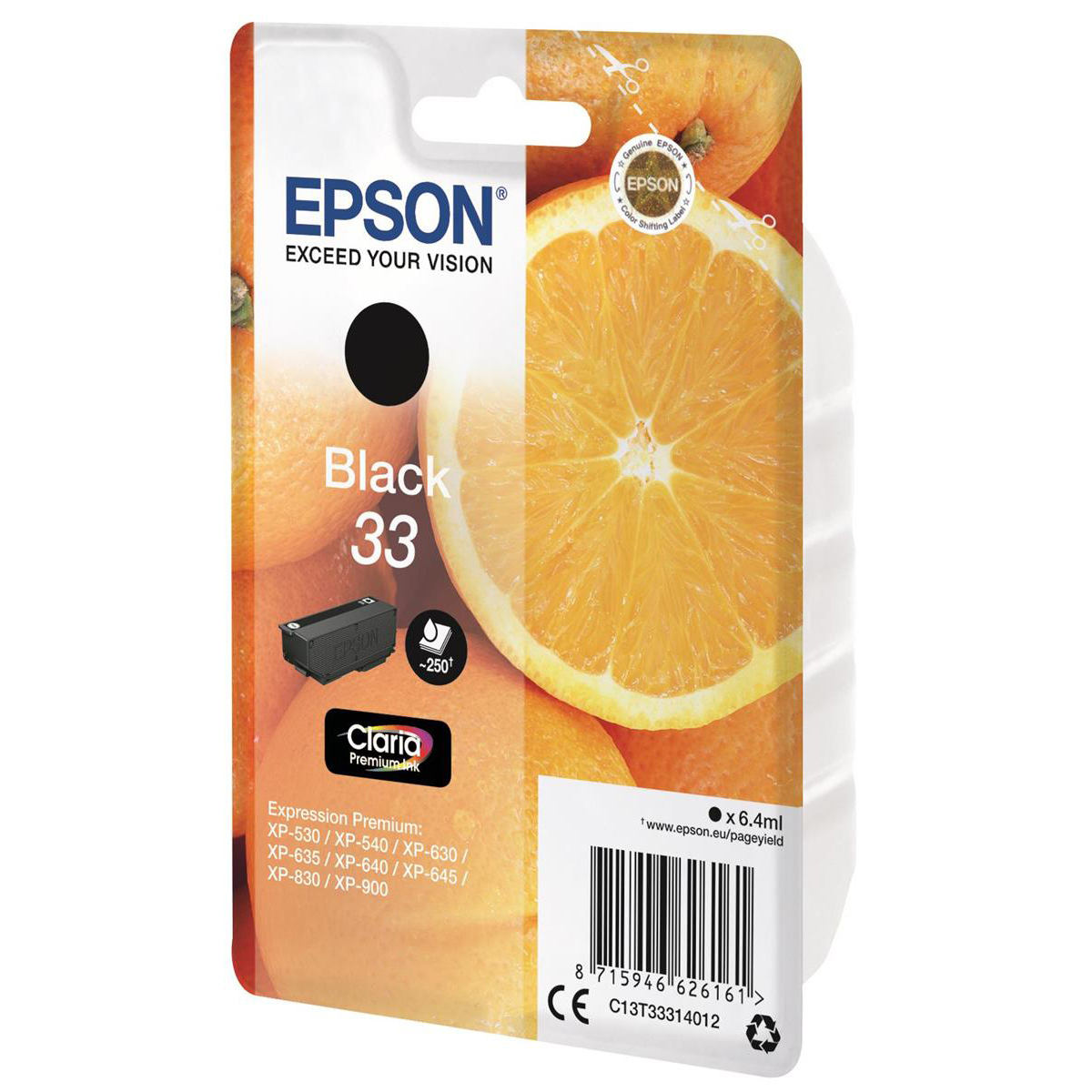 Epson T33 Inkjet Cartridge Orange Page Life 250pp 6.4ml Black Ref C13T33314012