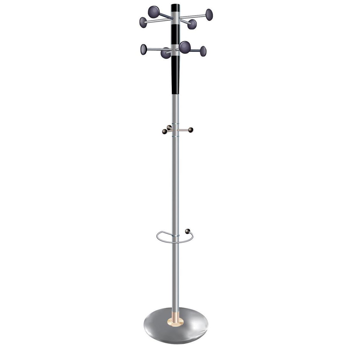Coat racks 5 Star Facilities Decorative Coat Stand with Umbrella Holder 8 Pegs 3 Hooks Base 380mm Height 1840mm Grey