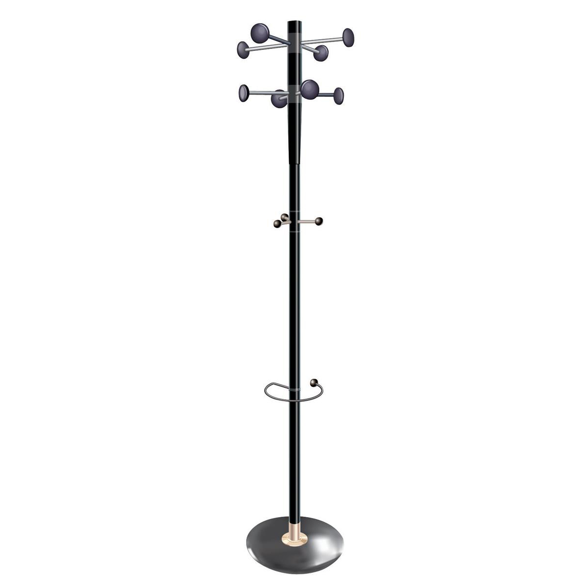 Free Standing 5 Star Facilities Decorative Coat Stand Umbrella Holder 8 Pegs 3 Hooks Base 380mm Height 1840mm Black