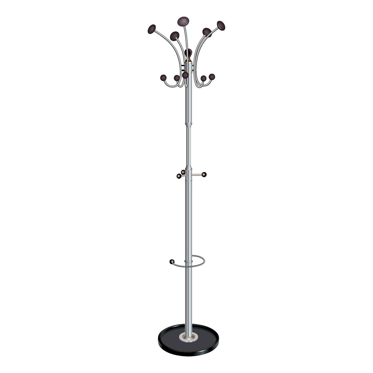 Free Standing 5 Star Facilities Coat Stand with Revolving Head 5 Pegs 5 Hooks Base 380mm Height 1890mm Black/Chrome