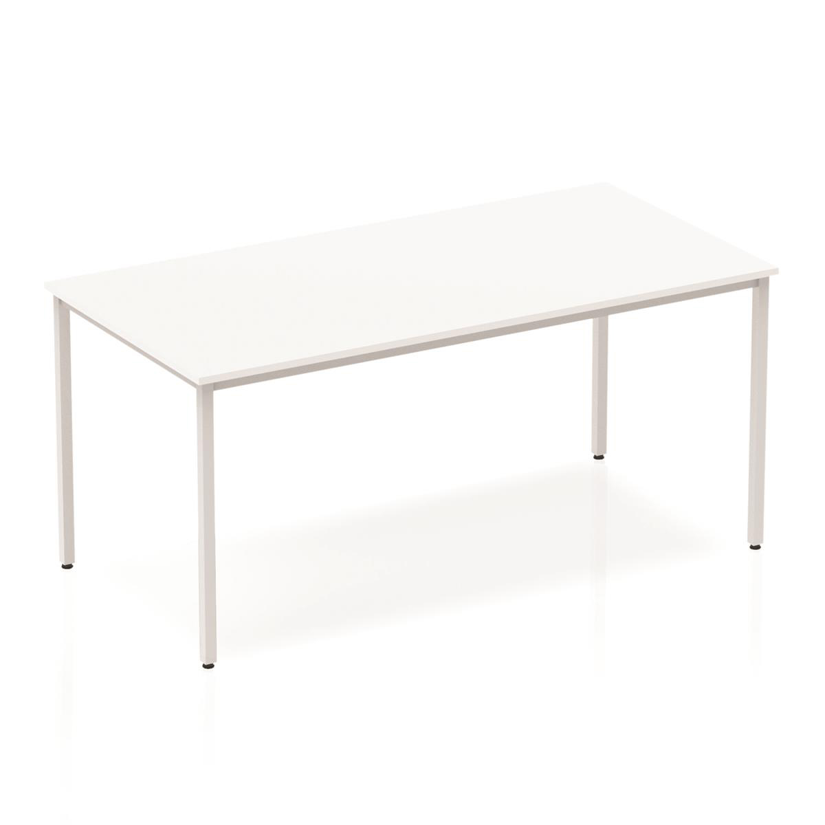 Trexus Rectangular Box Frame Silver Leg Table 1600x800mm White Ref BF00117