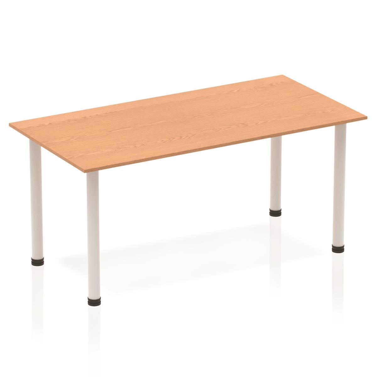 Sonix Rectangular Silver Post Leg Table 1600x800mm Oak Ref BF00180