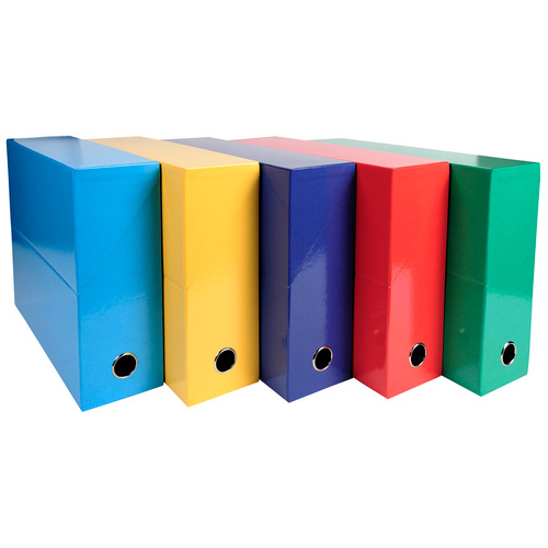 Iderama Transfer File 90mm Spine Thumb Hole A4 Assorted Standard Colours Pack 5