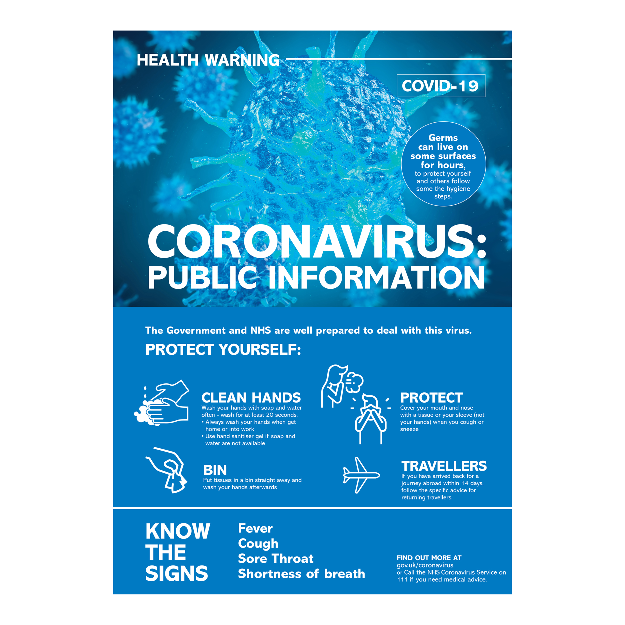 Safety signs Coronavirus Information Poster A3 , Polypropylene 0.3mm