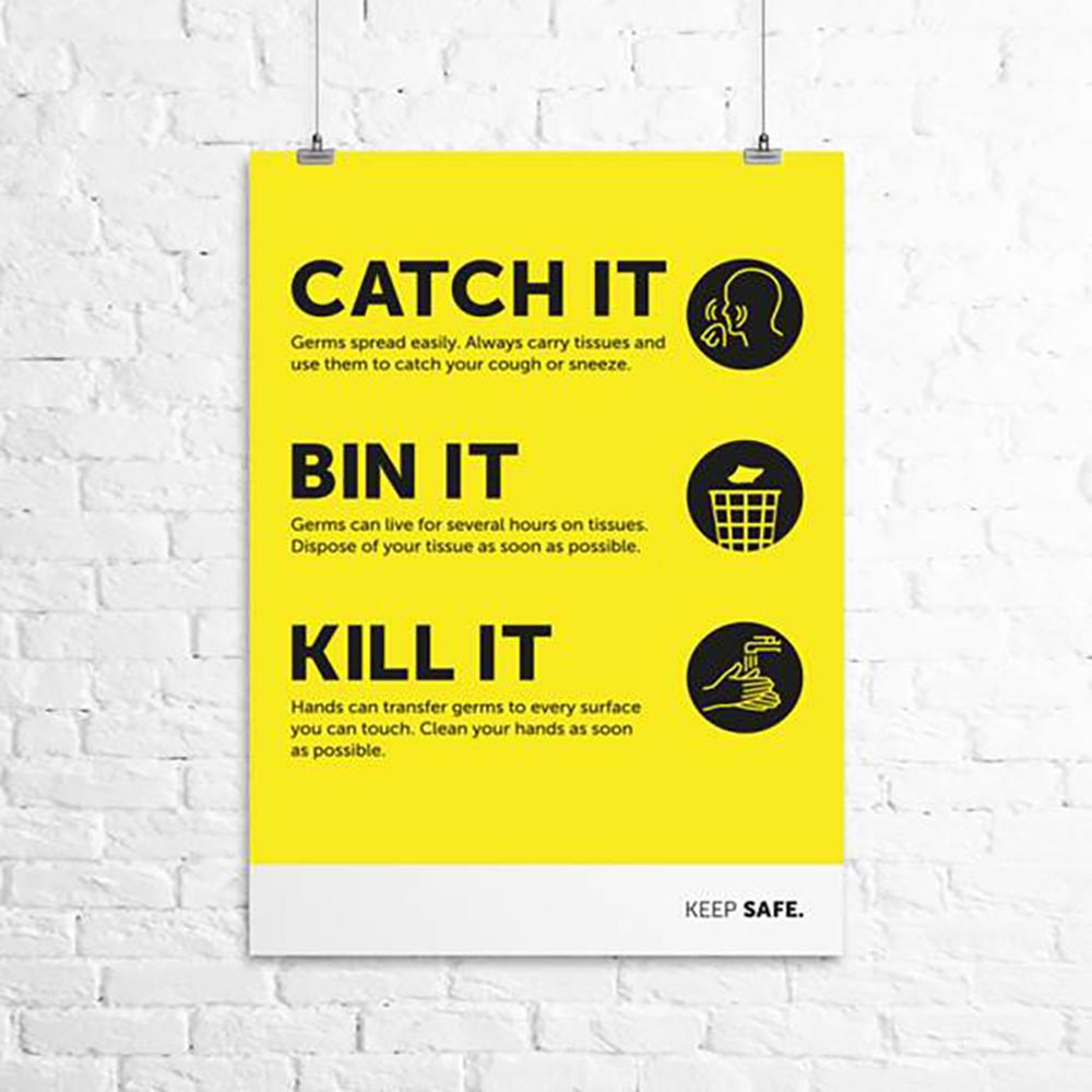 Safety signs Catch it Bin it Kill it A3 Poster 297mm x 420mm 160 Micron Polypropylene