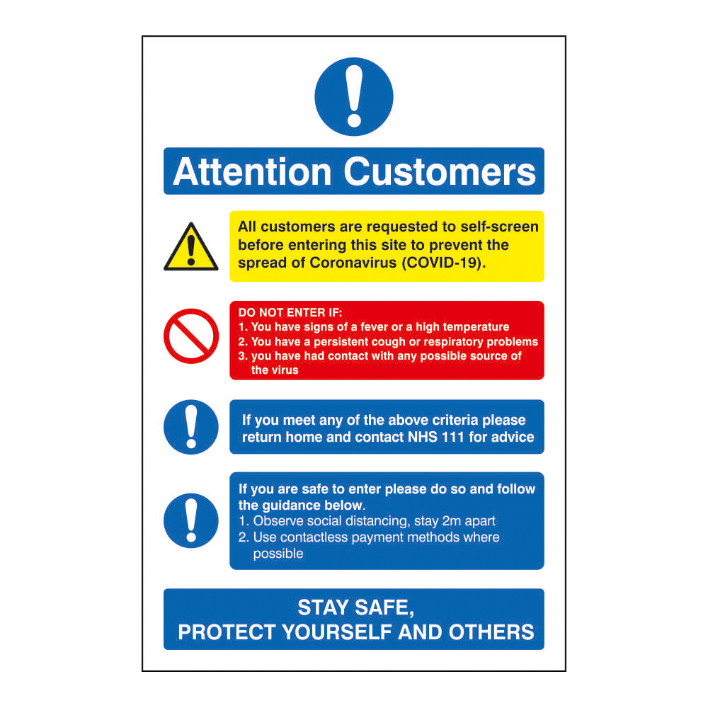 Safety signs Attention Customers COVID19 Action Notice 200x300mm Self Adhesive Vinyl