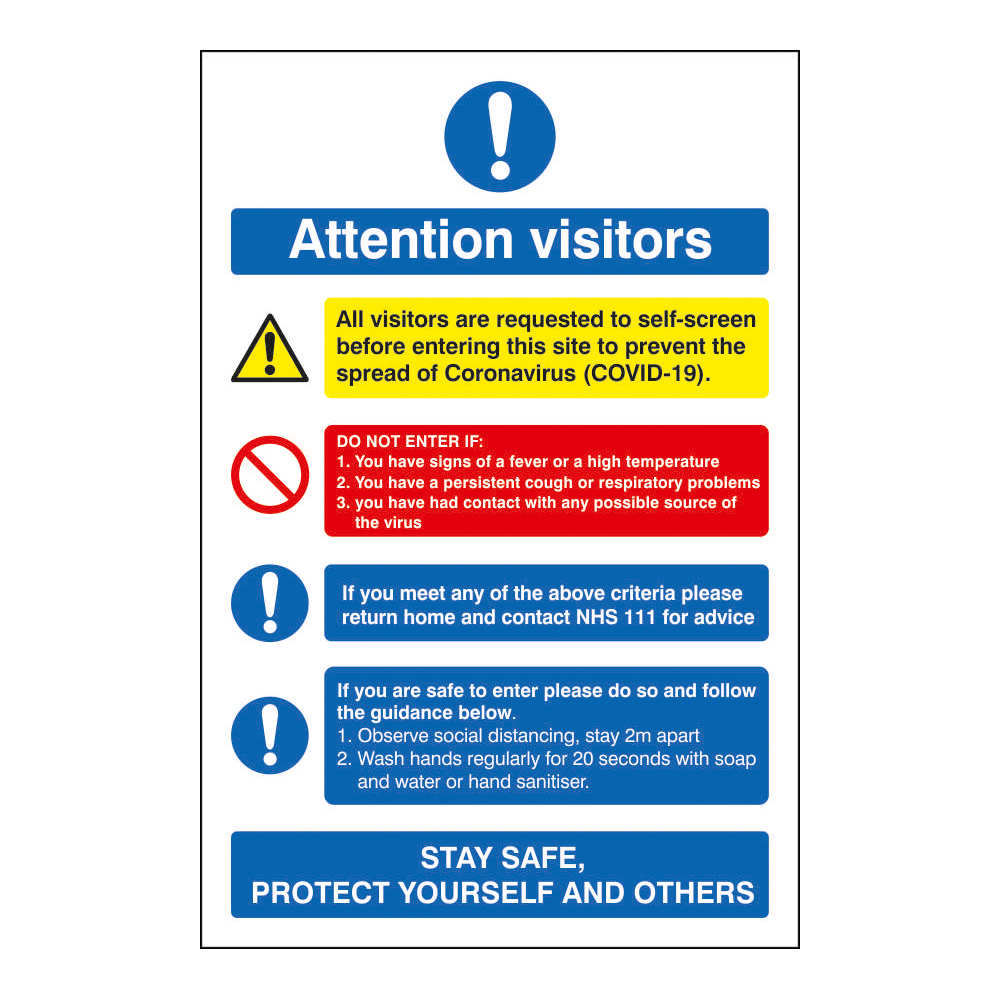 Safety signs Attention Visitors COVID19 Action Notice 200x300mm Semi Rigid Plastic